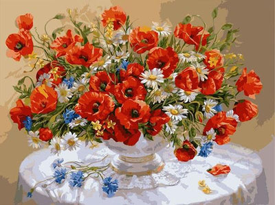 Red Blue and White Flowers - Paint by Numbers