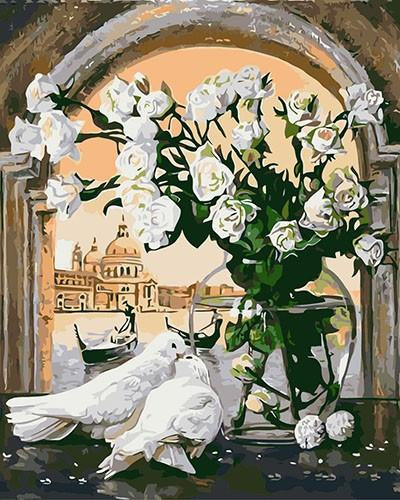 White Flower And Pigeons Drawing and Painting by Numbers