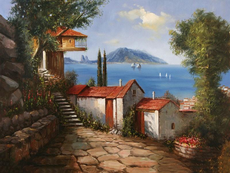 Beautiful Painting of Houses and the Ocean - Do it Yourself