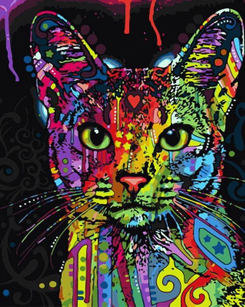 Psychedelic Cat paint by number kit
