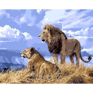 Lion and Lioness Somewhere in Africa - Paint by Numbers