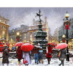 Snow falling in the street DIY Painting - Paint by Numbers