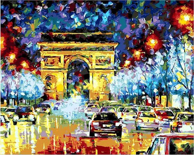 Artistic Colorful Night Rainfall, City Road Painting by Number - DIY