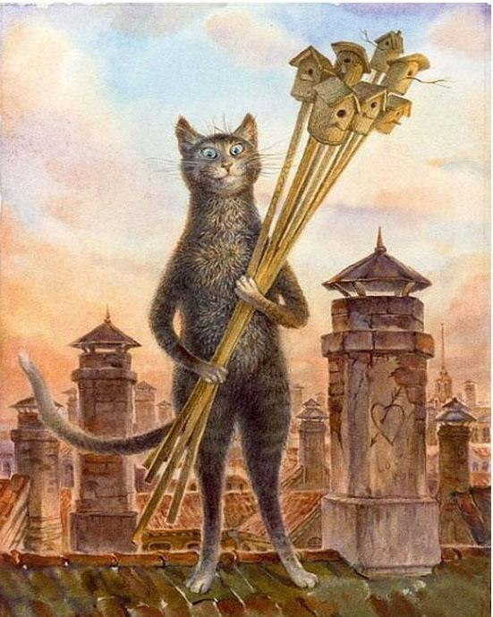 Hunter Cat with its Trophies - Painting by Numbers