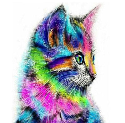 Cute Colorful Cat DIY Painting - Paint by Numbers