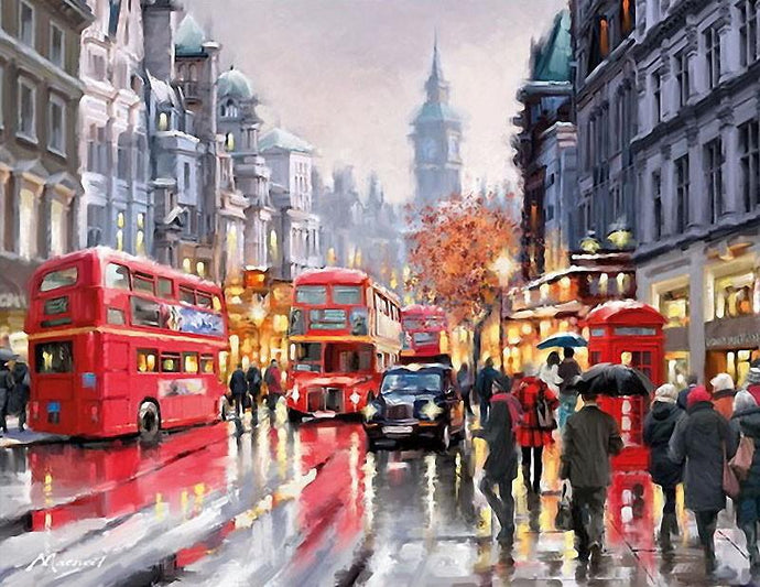 London Busy Street and Rain Painting - Paint by Numbers