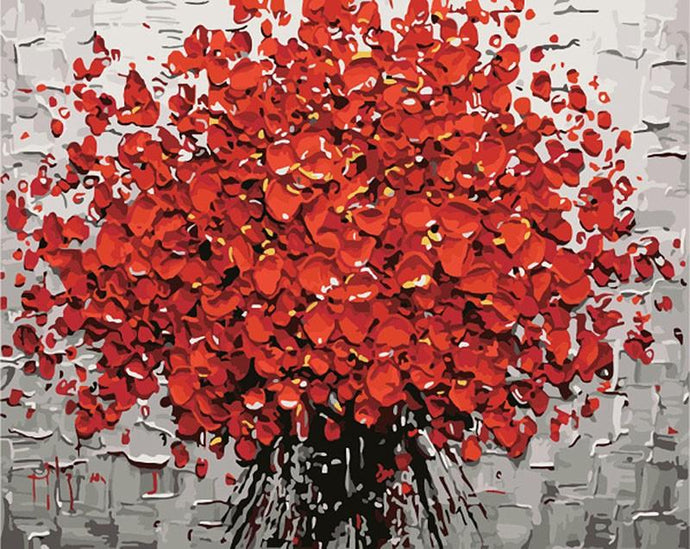 Red Flower DIY with Painting by Numbers Kit