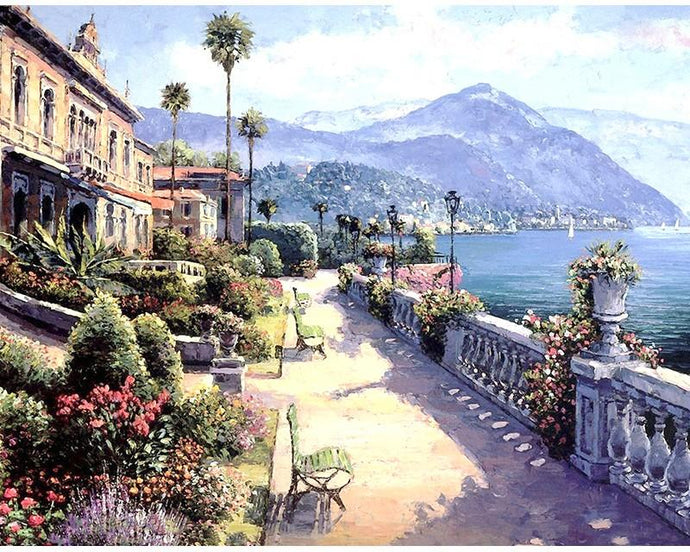 Beautiful Town Near the Ocean - Paint by Numbers