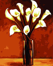 Load image into Gallery viewer, White Calla Lily in Glass Vase Painting - Paint by Numbers