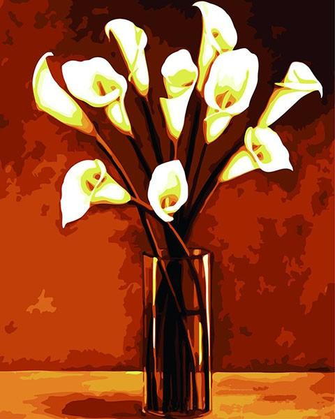 White Calla Lily in Glass Vase Painting - Paint by Numbers