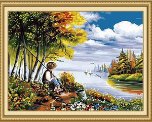 fishing boy paint by numbers