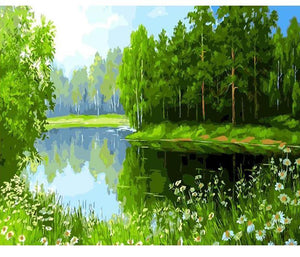 Green Lake Painting - Painting by Numbers