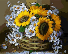 Load image into Gallery viewer, Sunflowers in Basket Painting - Painting By Numbers