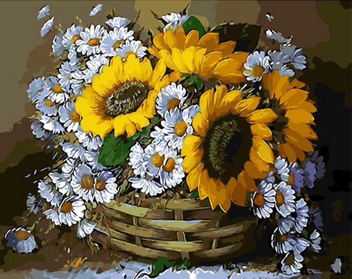 Sunflowers in Basket Painting - Painting By Numbers