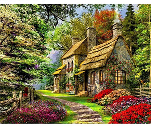 Beautiful Greenery and Flowers Painting - Paint by Numbers