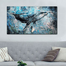 Load image into Gallery viewer, Big Blue Whale Painting - paint by number