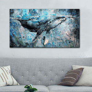 Big Blue Whale Painting - paint by number