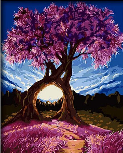 Blue Sky and Purple Tree and Grass Colorful Painting by Number Kit DIY