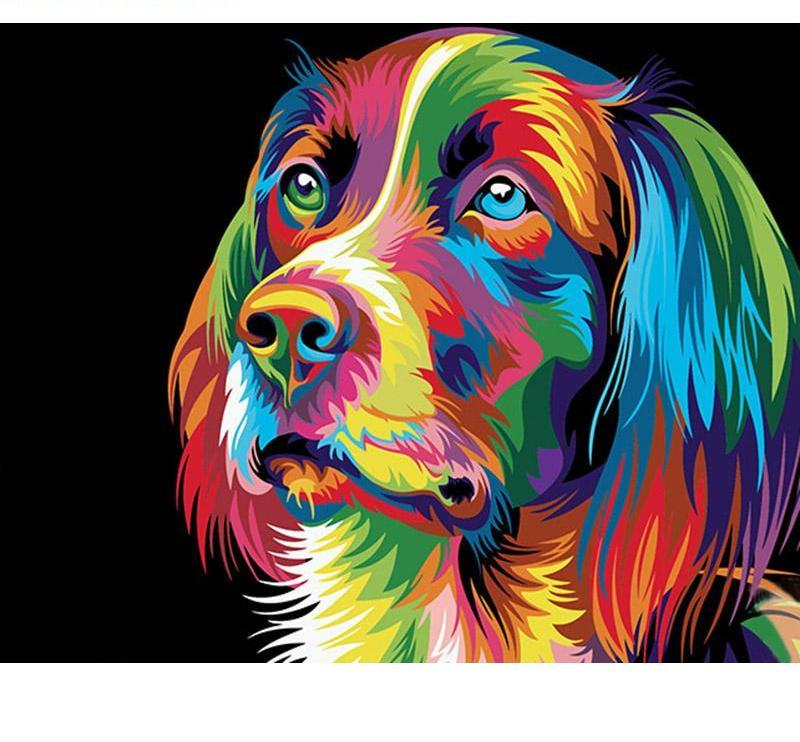 Colorful Dog Cartoon Painting - DIY Paint by Numbers