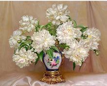 Load image into Gallery viewer, White Flowers in a Royal Vase - Paint yourself with Paint by Numbers