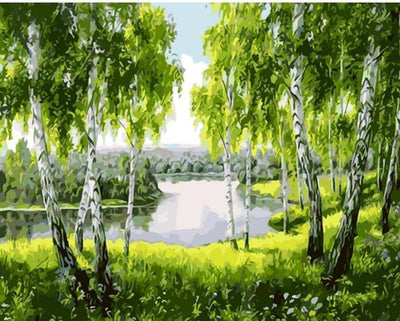 Green Trees DIY Painting - Paint by Numbers