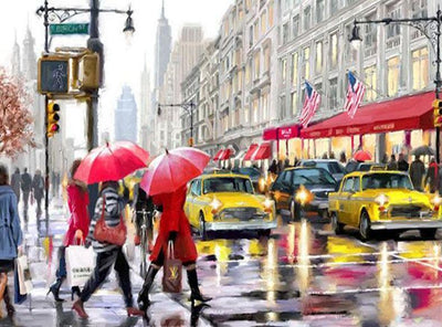 Rain in the Street Wonderful Painting - Paint by Numbers