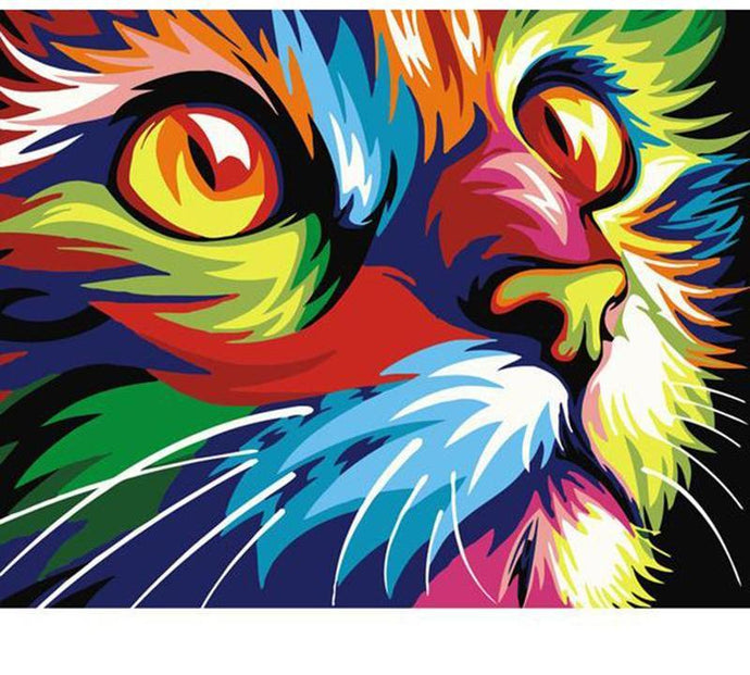 Colorful Cat Painting - Paint by Numbers for Kids