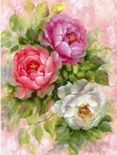Flowers Painting by Diamonds