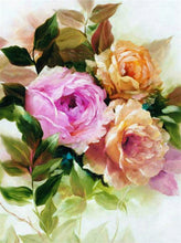 Load image into Gallery viewer, Square drill Diamond Painting of Pink, Purple and White Flowers