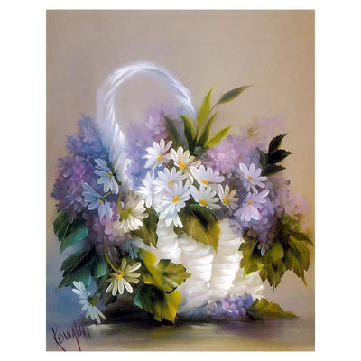 Purple and White Flowers Painting - Paint by Numbers