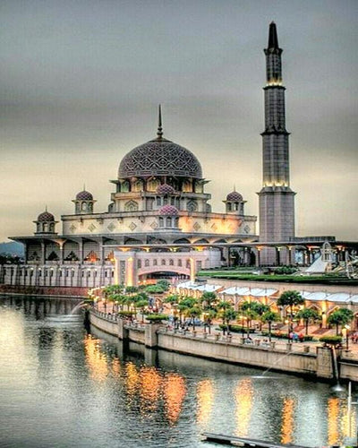 Beautiful Mosque at the River Bank - Paint by Numbers