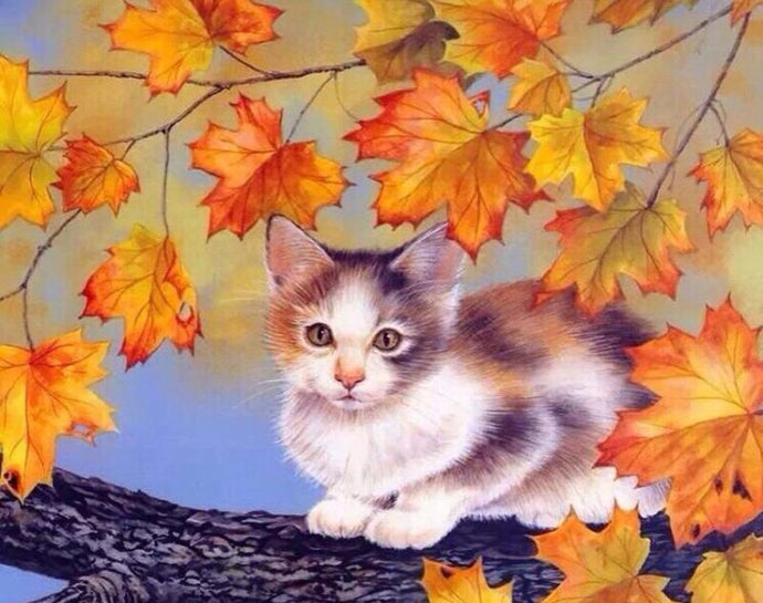 Cute Cat on the Tree Branch - Paint by Numbers