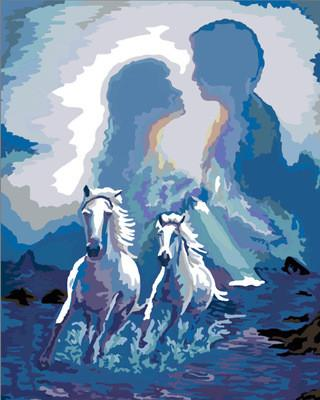 Artistic Painting of a Couple and Horses - Paint by Numbers