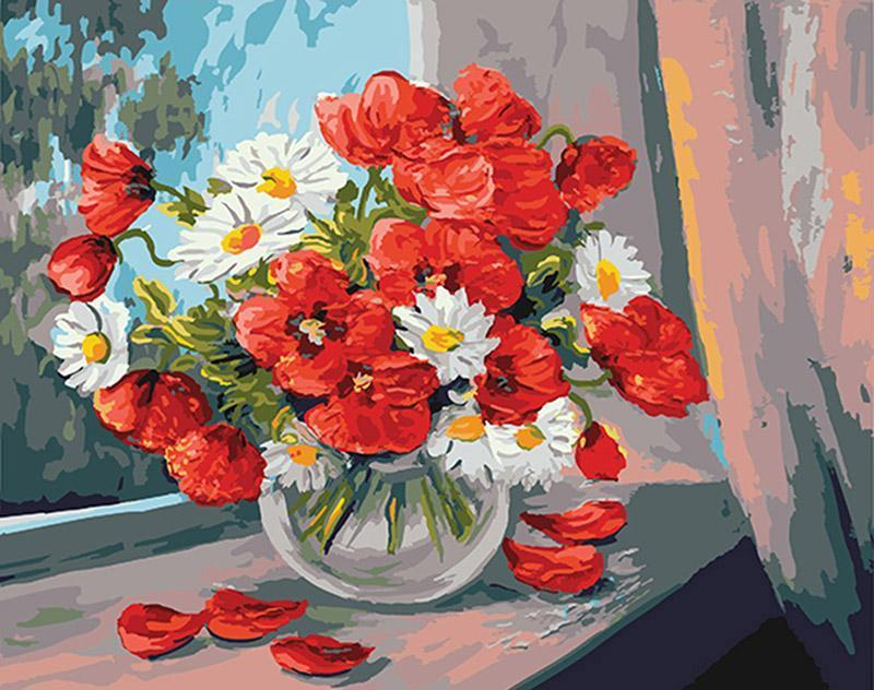 Red and White Flowers DIY Painting with Paint by Numbers
