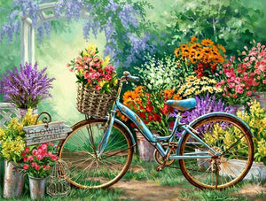 flowers bicycle diamond painting
