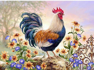 Cock & Flowers Diamond Painting
