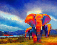 Load image into Gallery viewer, Colorful African Elephant DIY with Paint by Numbers Kit