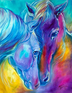 Fantasy Diamond Painting of Horse Couple