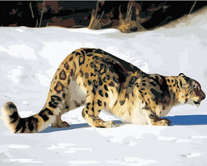 Wild Cat, Leopard in the Snow Painting - Painting by Numbers