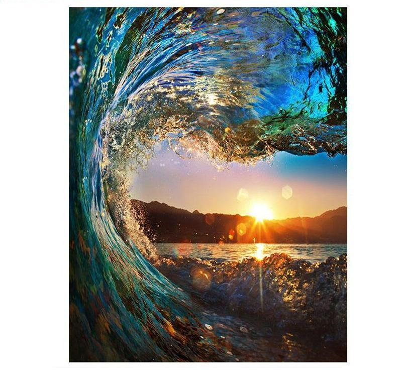 Wave Sunset Painting - DIY with Paint by Numbers