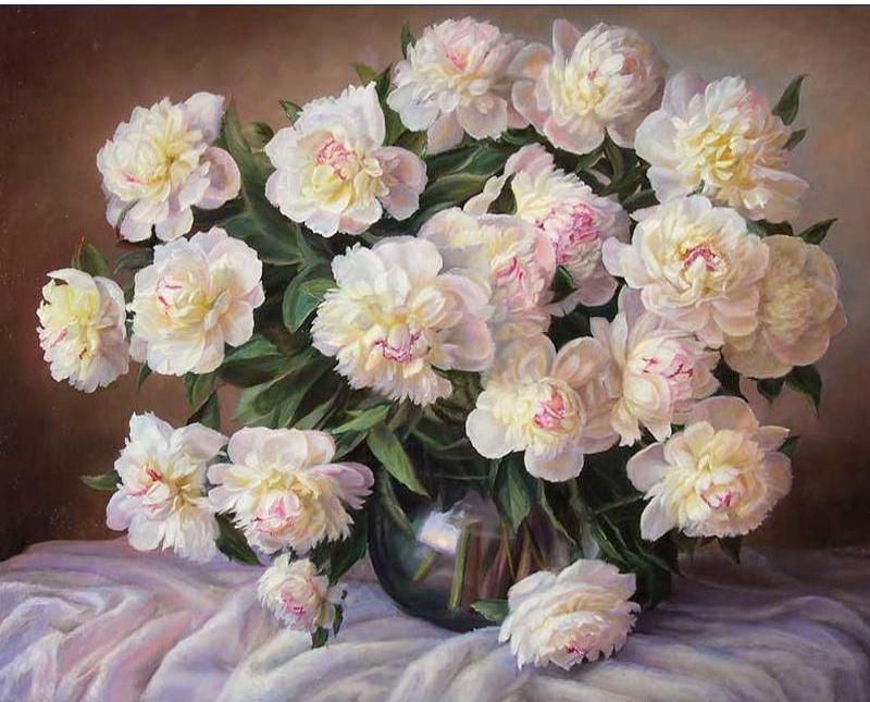 Beautiful Vase Of White Flowers Painting Paint It And Hang In Your