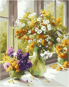 Yellow, White and Purple Flowers - Paint by Numbers