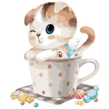 Load image into Gallery viewer, Cute Cat in the Cup - Paint by Numbers For Kids