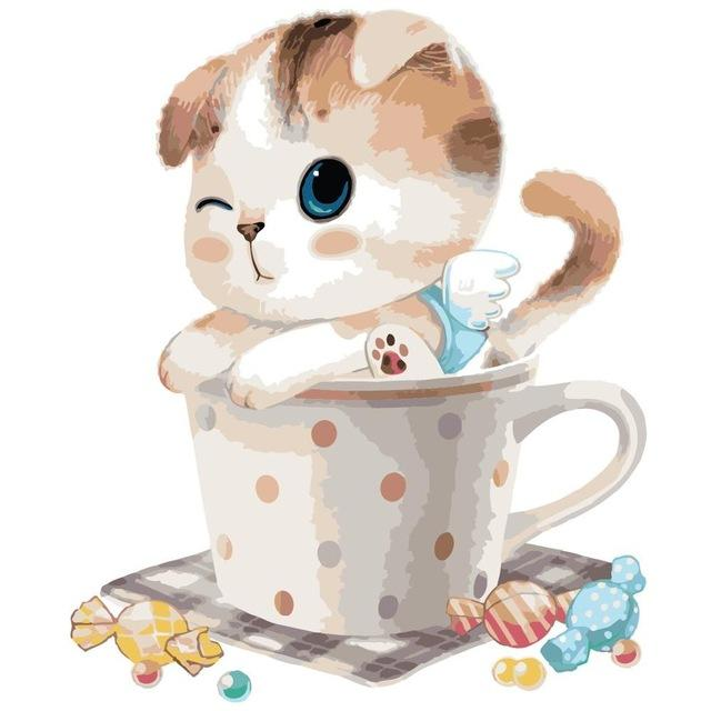 Cute Cat in the Cup - Paint by Numbers For Kids