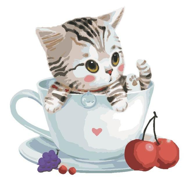 Cute Cat in Lovely Cup - Paint by Numbers Kids