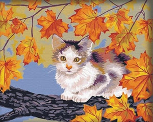 Cat sitting on Branch in Autumn - Painting by Numbers