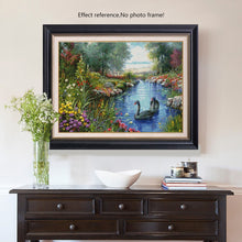 Load image into Gallery viewer, Flowers and a Beautiful Pond Paint by Diamonds