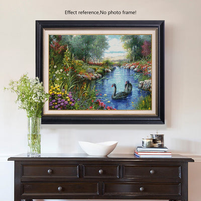 Flowers and a Beautiful Pond Paint by Diamonds
