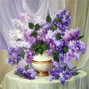 Lavender Flowers in a Ceramic Vase