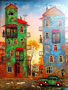 colorful buildings diamond painting